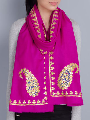 Fuschia Cashmere Wool Gota Patti Hand Embellished Stole