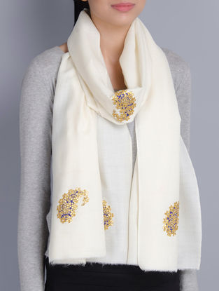 Ivory Cashmere Wool Gota Patti Hand Embellished Stole