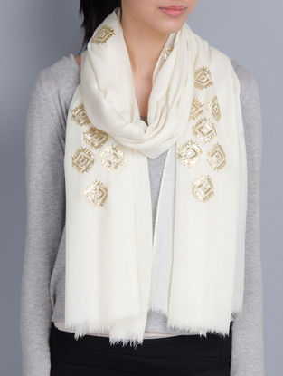 Ivory Cashmere Wool Sequins Gota Patti Hand Embellished Stole