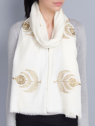 Ivory Cashmere Wool Sequins and Pearls Hand Embellished Stole