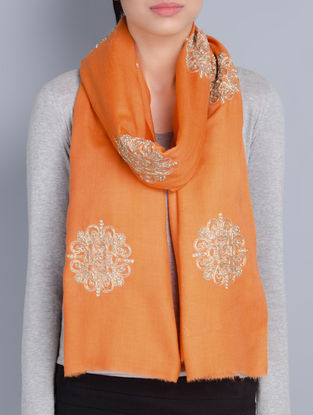 Orange Cashmere Wool Aari and Zardozi Hand Embellished Stole