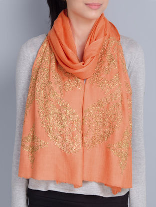 Peach Cashmere Wool Pittan Work Hand Embellished Stole