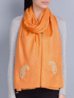 Orange Cashmere Wool Zardozi and Dori Work Hand Embellished Stole
