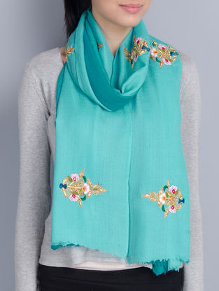 Green-Turquoise Cashmere Wool Ribbon and Resham Hand Embellished Stole
