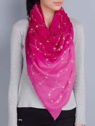 Pink-Fuschia Cashmere Wool Aari and Zardozi Hand Embellished Stole