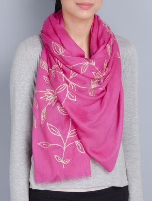 Pink Cashmere Wool Sequins Hand Embellished Stole