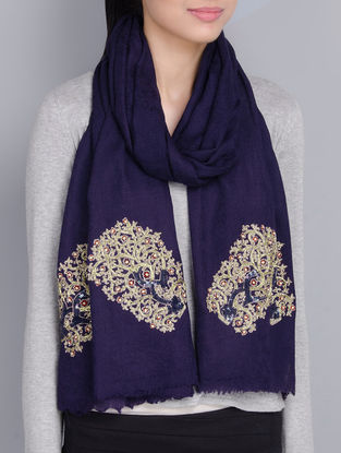 Navy Blue Cashmere Wool Aari and Sequins Hand Embellished Stole