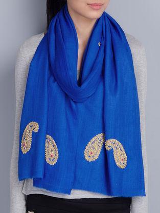 Blue Cashmere Wool Zardozi and Dori Work Hand Embellished Stole