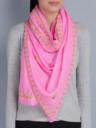 Pink Cashmere Wool Gota Patti Hand Embellished Stole