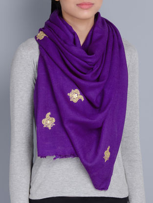 Purple Cashmere Wool Dori and Sequins Hand Embellished Stole