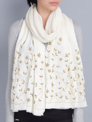 Ivory Cashmere Wool Aari and Cutdana Hand Embellished Stole