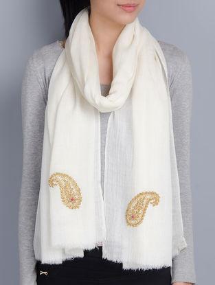 Ivory Cashmere Wool Zardozi and Dori Work Hand Embellished Stole