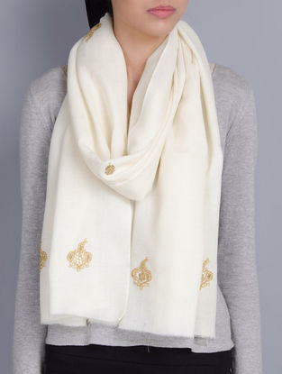 Ivory Cashmere Wool Dori and Sequins Hand Embellished Stole