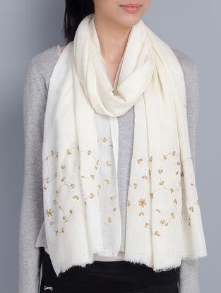 Ivory Cashmere Wool Aari and Zardozi Hand Embellished Stole