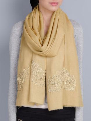 Beige Cashmere Wool Aari and Zardozi Hand Embellished Stole
