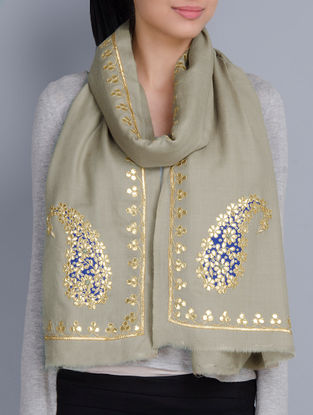 Light Olive Cashmere Wool Gota Patti Hand Embellished Stole