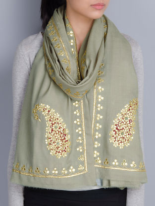 Light Olive Cashmere Wool Gota Patti Hand Embellished Stole