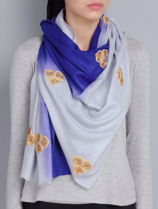 Grey-Blue Cashmere Wool Aari and Zardozi Hand Embellished Stole