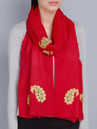 Red Cashmere Wool Gota Patti Hand Embellished Stole