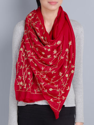 Red Cashmere Wool Aari and Cutdana Hand Embellished Stole