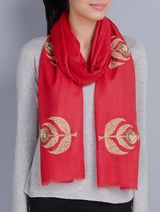 Red Cashmere Wool Sequins and Pearls Hand Embellished Stole