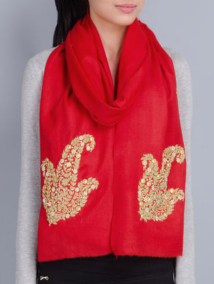 Red Cashmere Wool Zardozi and Pearls Hand Embellished Stole