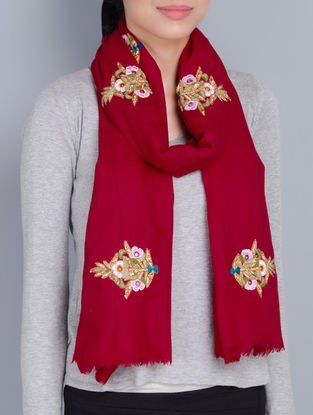 Red Cashmere Wool Ribbon and Resham Hand Embellished Stole