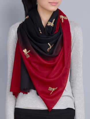 Red-Black Cashmere Wool Sequins and Pearls Hand Embellished Stole