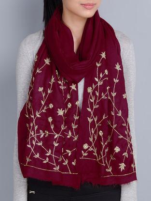Maroon Cashmere Wool Aari and Cutdana Hand Embellished Stole
