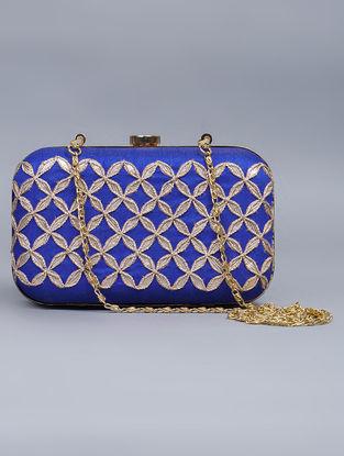 Blue Silk Gota Patti Hand Embellished Box Clutch