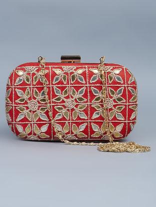Red Silk Gota Patti Hand Embellished Box Clutch