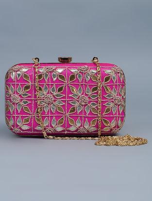 Pink Silk Gota Patti Hand Embellished Box Clutch