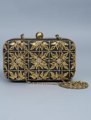 Black Silk Gota Patti Hand Embellished Box Clutch