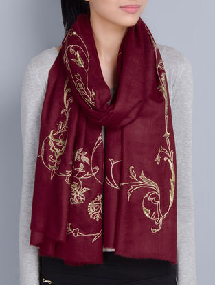 Maroon Cashmere Wool Aari Hand Embellished Stole
