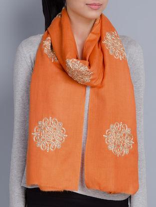 Orange Cashmere Wool Aari and Zardozi Hand Embellished Stole