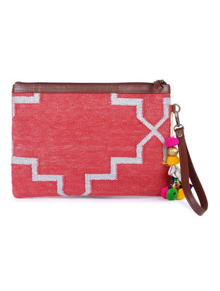 Red-Blue Cotton Kilim Utility Pouch with Tassels