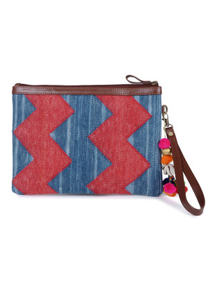 Blue-Red Cotton Kilim Utility Pouch with Tassels