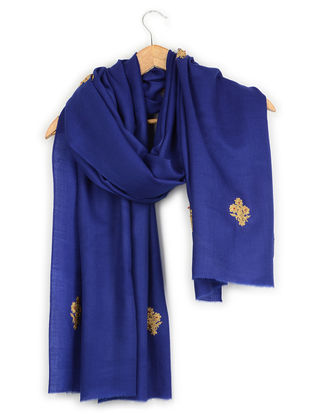Blue Thread-embroidered Cashmere Stole
