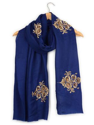 Blue Zardozi-embroidered Cashmere Stole