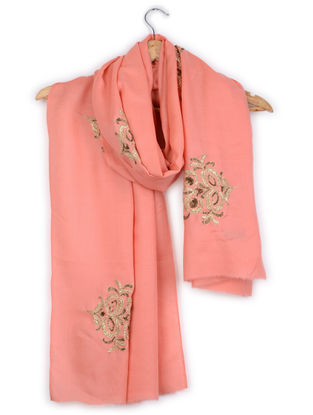 Coral Zardozi-embroidered Cashmere Stole with Pittan Work