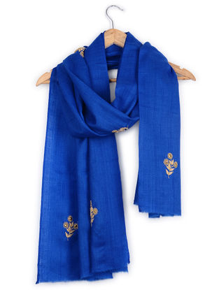 Blue Resham and Aari-embroidered Cashmere Stole