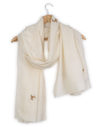 Ivory Zardozi and Aari-embroidered Cashmere Stole