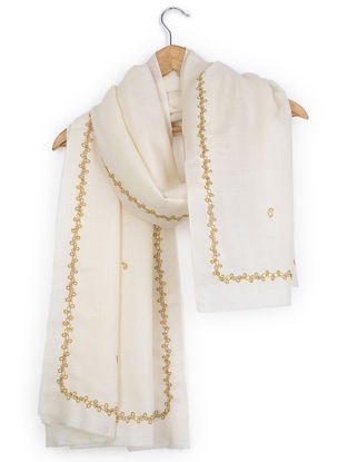Ivory Thread-embroidered Cashmere Stole with Sequins