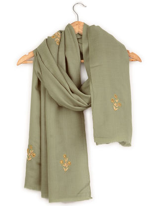 Grey Resham and Aari-embroidered Cashmere Stole