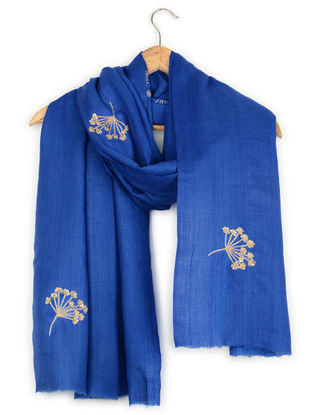 Blue Aari-embroidered Cashmere Stole with Sequins