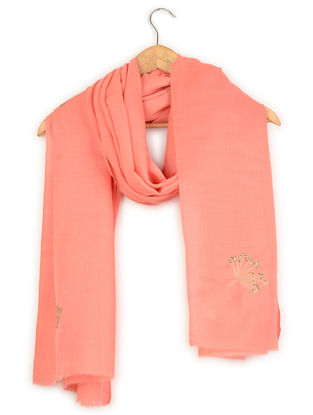 Peach Aari-embroidered Cashmere Stole with Sequins