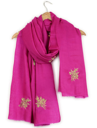 Pink Zardozi and Aari-embroidered Cashmere Stole