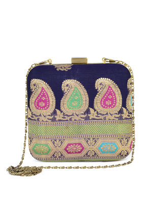 Purple-Multicolored Handcrafted Brocade Silk Clutch