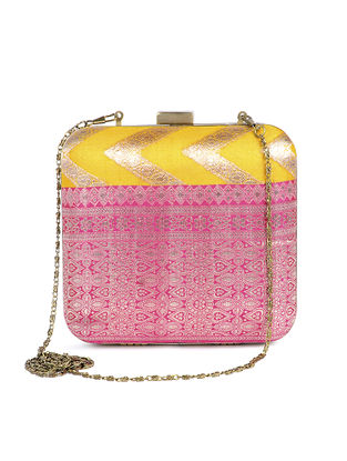 Yellow-Pink Handcrafted Brocade Silk Clutch