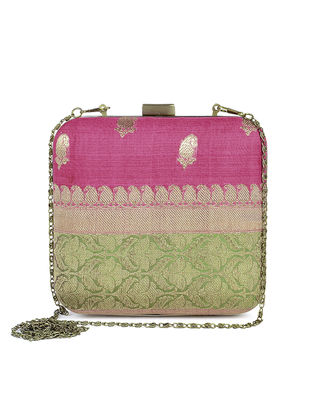 Pink-Green Handcrafted Brocade Silk Clutch